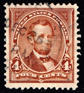 US STAMP #280 – 1898 4c Lincoln, rose brown USED STAMP SUPERB