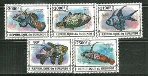 Burundi MNH Set Of 5 Fish Marine Life
