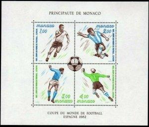 Sc# 1322 ss - Monaco - 1982 Soccer / Football - MNH - superfleas - cv$11.25