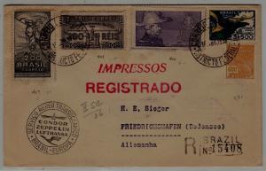 Brazil/Germany Zeppelin reg.cover 15.4.36