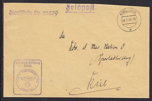 Germany, 1940 Kreuzer Nuernberg Feldpost Cover to Kiel