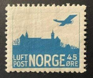 Norway #C1a, 45 ore Airmail, Faint Frame Lines, LH, VF, Scott $25.00