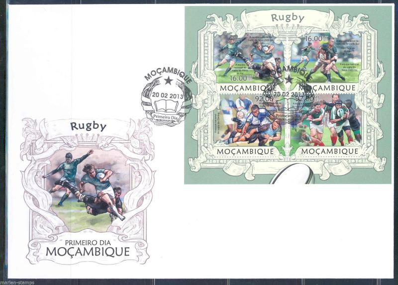 MOZAMBIQUE 2013 RUGBY  SHEET FIRST DAY COVER