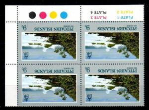PITCAIRN ISLANDS SG212w 1981 VIEWS 9c WMK REVERSED BLOCK OF 4 MNH