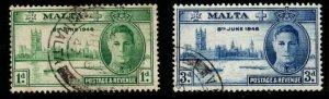 MALTA SG232/3 1946 VICTORY FINE USED