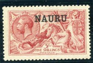 Nauru 1916 KGV 5s bright carmine (De La Rue) MLH. SG 22. Sc 14.