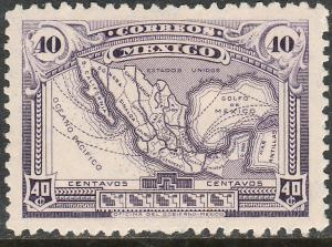 MEXICO 647, 40cents MAP OF MEXICO MINT NH. F-VF.