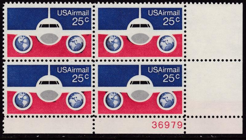 United States 1974  25cent Plane & Globe Plate Number Block VF/NH