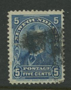 Newfoundland - Scott 85 - QV Definitive - 1899 - FU - Single 5c Stamp
