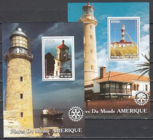 Benin, 2003 Cinderella issue. American Lighthouses on 2 s/sheets.