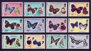 BELIZE — SCOTT 346//360 — 1974-77 BUTTERFLIES SIDEWAYS WMK. 314  — MNH — SCV $62