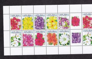 Aruba  #374   MNH  2011  sheet with 2  blocks of  10  + 2 labels   flowers