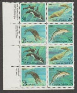 U.S. Scott #2508-2511 Sea Creatures Stamps - Mint NH Zip Block of 8