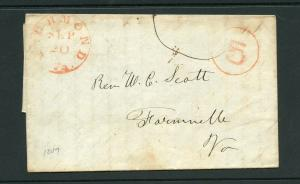 UNITED STATES 1847 RED RICHMOND VA   STAMPLESS  COVER WITH RED 5 IN CIRCLE