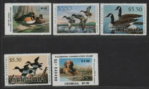 $US State Duck Stamps, Georgia Sc#1-5 M/NH/VF, complete set, Cv. $56