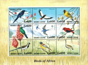Sierra Leone MNH S/S Birds Of Africa 6 Stamps