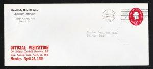 SCOTTISH RITE (MASONIC) ADVERTISING SC #U533 POSTAL STATIONARY SALISBURY MD 1954