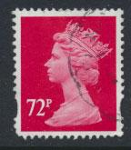 Great Britain SG Y1737 Machin 72p  Used  small short corner perf