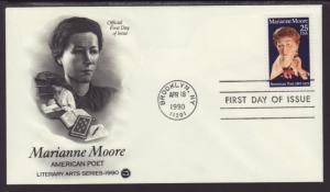 US 2449 Marianne Moore 1990 PCS U/A FDC