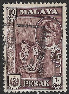 MALAYA PERAK 1957-61 10c TIGER Pictorial Issue Scott No. 132 VFU