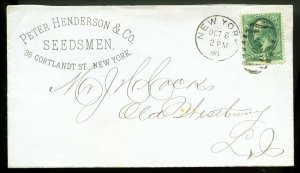 U.S. Scott 184 Bank Note on 1880 Ad Cover for Peter Henderson Seedsmen in NYC