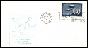 UN New York to Stockholm,Sweden Pan Am 1961 First Jet Flight Cover