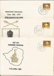 RHODESIA, 1980, 3x FDC, Last day, Rhodesia Scott 396