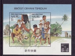 Nauru-Sc#409c-Unused NH sheet-Child's Best Friend-Dogs-Hong Kong '94-1994-