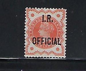 GREAT BRITAIN SCOTT #O11 1888-89 I.R. OFFICIAL 1/2P  (VERMILION) - MINT LH