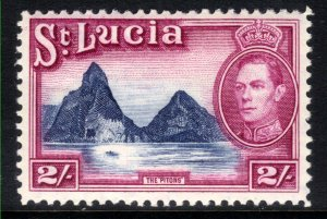 St Lucia 1938 - 48 KGV1 2/-d The Pitons MM SG 136 ( T644 )