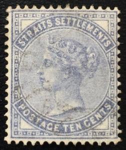 Malaya  Straits Settlements 1882 QV 10c Used Crown CC SG#49 CV£80 M1661