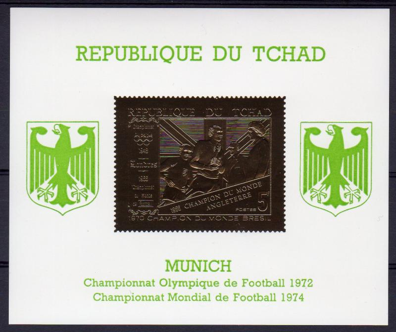 Chad 1971 Mi#Bl.23 World Cup Munich 1974/World Cup England 1966 S/S Gold MNH