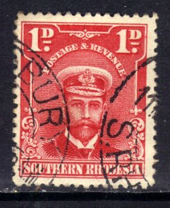 Southern Rhodesia 1924 - 29 KGV 1d Bright Rose used SG 2 ( D340 )