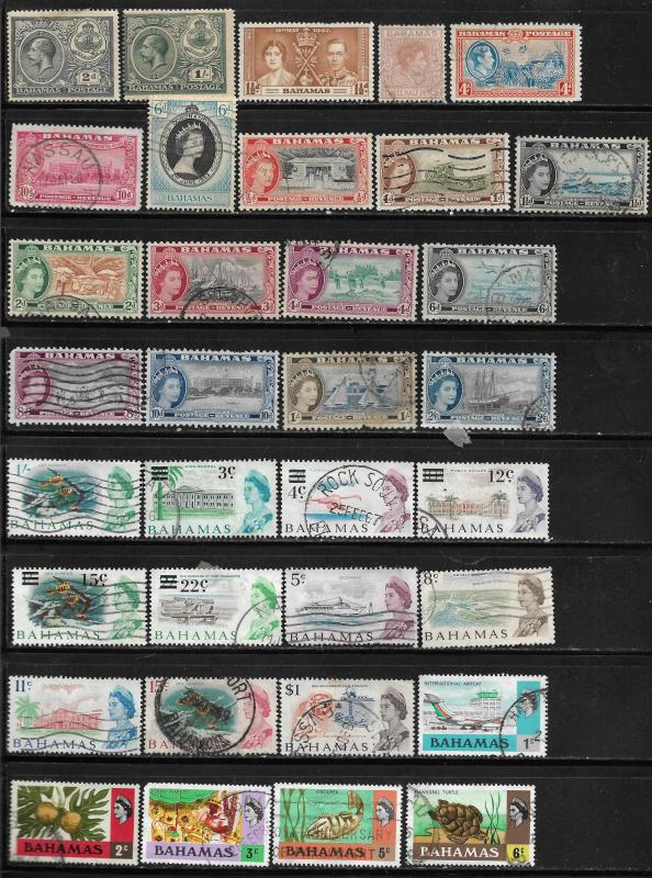 COLLECTION LOT OF 57 BAHAMAS STAMPS 1921+ 2 SCAN CV+$42