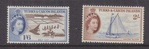 TURKS & CAICOS ISLANDS , 1957 QE 1s.6 & 2s., lhm.