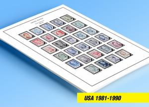 COLOR PRINTED U.S.A. 1981-1990 STAMP ALBUM PAGES (56 illustrated pages)