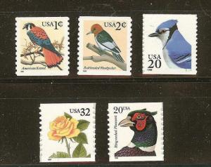 US Scott # 3044, 3045, 3053, 3054, & 3055 Set of 5 Flora & Fauna MNH