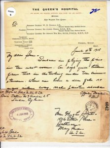 1918, US Medical Doctor, The Queens Hospital, Ex Lowther, See Remark (M4695)