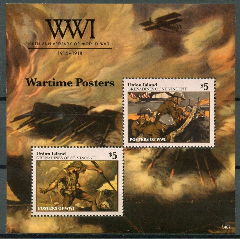 Union Island Gren St Vincent 2014 MNH WWI WW1 Wartime Posters 2v S/S Stamps