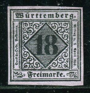 EKF Lot 2004 German State 1851 Michel Wurttemberg 5 reprint Faux