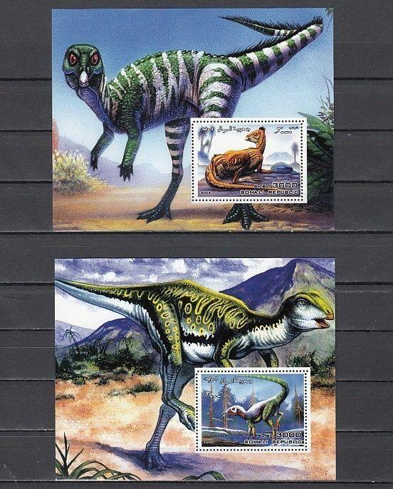 Somali Rep. 2002 issue. Dinosaurs on 2 s/sheets.