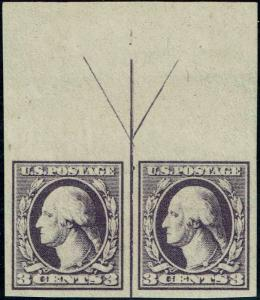 #535 TOP ARROW PAIR 1918 3 CENT IMPERF OFFSET ISSUE MINT-OG/H--VF