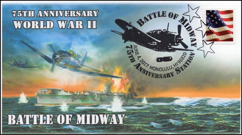 17-132, 2017, Battle of Midway, World War II, Event Cover, 75th Anniv