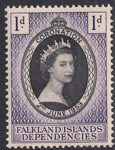 Falkland Islands Depend 1953 QE2 1d Coronation MM SG G25 ( R1175 )