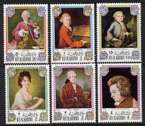 Ras Al Khaima 1972 Portraits of Mozart perf set of 6 unmo...