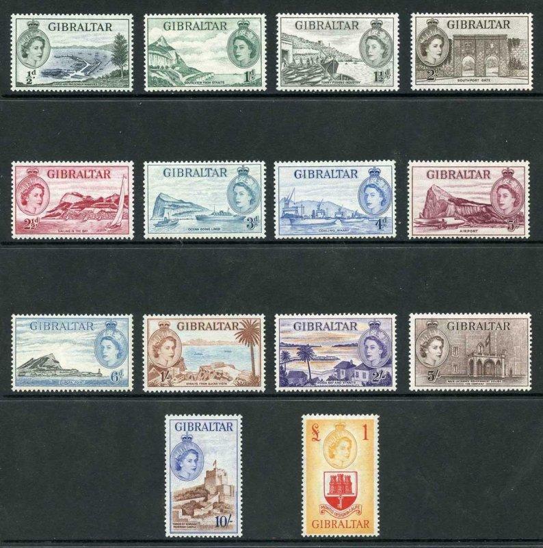 Gibraltar SG145/58 1953 Set of 14 U/M