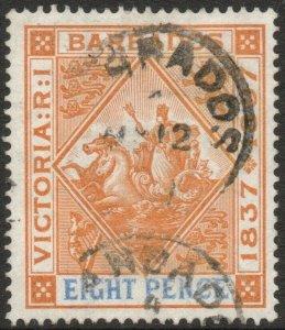 BARBADOS-1897-98 Jubilee 8d Orange & Ultramarine Sg 122 GOOD USED V46328