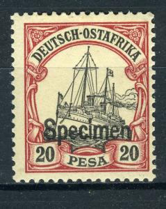 SPECIMEN Overprint on German East Africa 20 Pesa Yacht, MLH