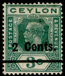 CEYLON SG361, 2c on 3c slate-grey, M MINT.