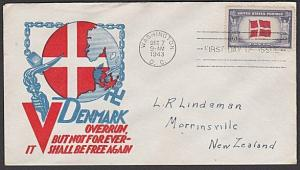 USA 1943 FDC to New Zealand - Overrun Nations DENMARK......................57702